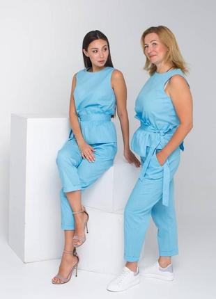 Льняной костюм, топ с баской сьемной, комплект майка-топ и брюки, брючный костюм с блузкой и штанами, жіночий костюм льняний