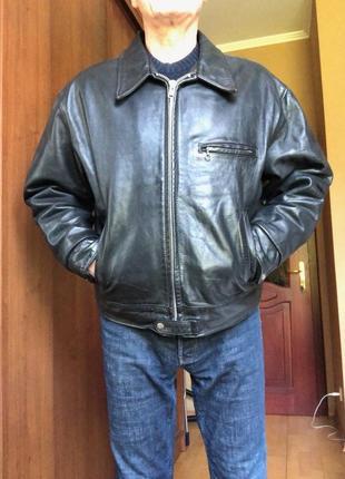Байкерская кожаная куртка gapstar,винтаж,made in usa,чёрная