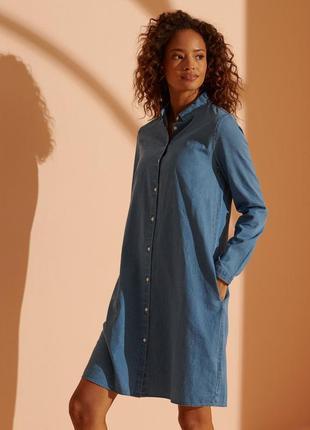 Джинсовое легкое платье-рубашка от superdry