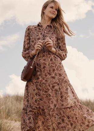 Длинное легкое шифоновое платье в принт