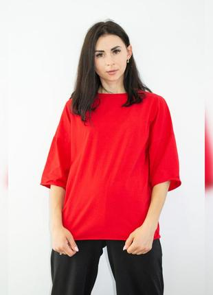 Однотонная трендовая женская футболка оверсайз (oversize) красная, разные цвета