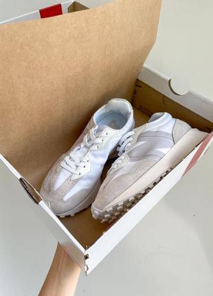 New balance 327🆕женские замшевые шикарные кроссовки нью баланс🆕бежевые с белым5 фото