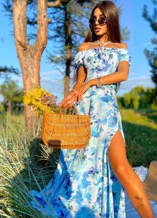 Платье со спущенными рукавами голубое