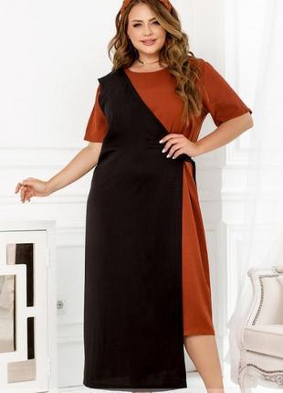 Стильное коттоновое платье комбинация миди батал + бесплатная доставка💫