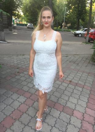 Платье женское вечернее выпускное свадебное коктейльное белое короткое с кружевом сукня