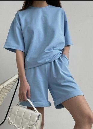 Женский костюм с шортами -оверсайз
