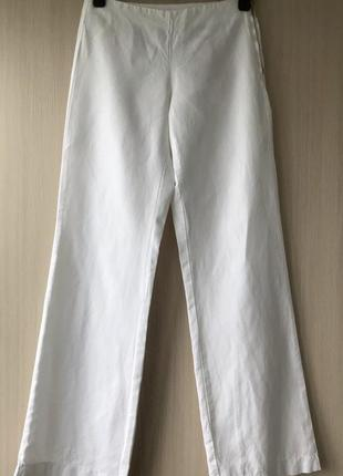Белые брюки из хлопка и льна of benetton / 38 / 40