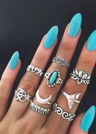 Стильный набор колец кольца на фаланги этно бохо