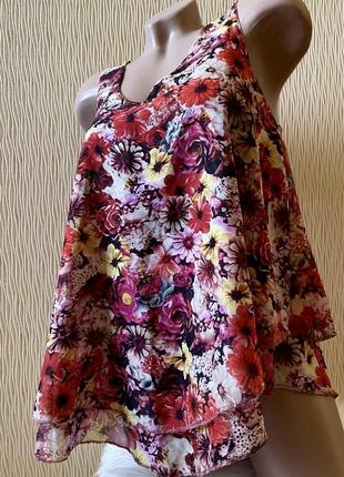 Шикарная воздушная майка топ в цветы размер s amisu