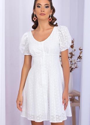 Ажурное, хлопковое платье, натуральная прошва,  белое