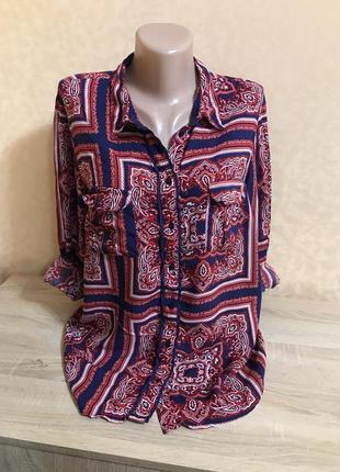 Вискозная блуза в принт р 42-44