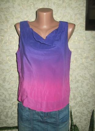 Шикарная шелковая майка блуза ,градиент ,100% шелк