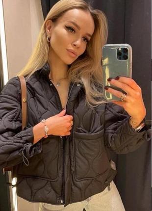 Крутейшая куртка zara стеганая пуфер черная 2969/046