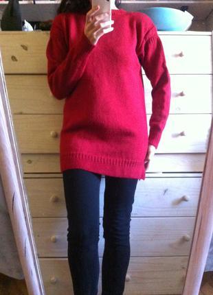 Тёплая туника  красная 100% шерсть шерстяной свитер 10-12+