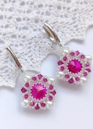 Серьги, серёжки, сережки, кульчики розовые из бисера ручной работы