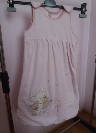 Велюровый спальный мешок жигтоз tu для девочки 6-12 месяцев