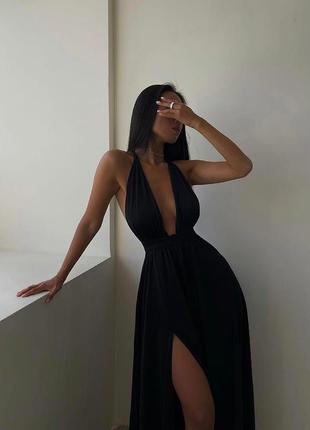 Черное летнее длинное платье, вечернее. распродажа.