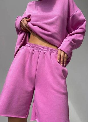 Сиреневый прогулочный костюм, шорты и худи. распродажа.