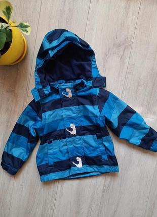 Куртка курточка pocopiano 86/92 рост с капюшоном на флисе динозавр со светоотражателем