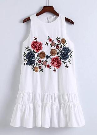 Платье сарафан белый хлопковый с вышивкой zara