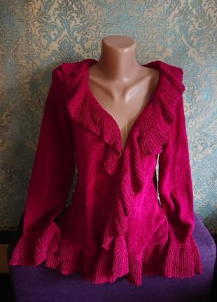 Красивый кардиган стриженый велюр цвет рубин кофта накидка р.44/46/481 фото