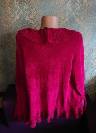 Красивый кардиган стриженый велюр цвет рубин кофта накидка р.44/46/482 фото