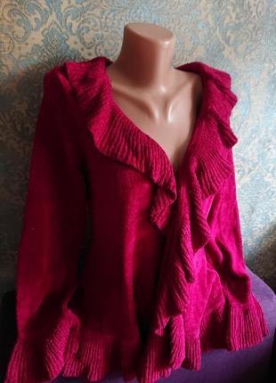 Красивый кардиган стриженый велюр цвет рубин кофта накидка р.44/46/484 фото