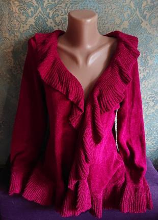Красивый кардиган стриженый велюр цвет рубин кофта накидка р.44/46/486 фото
