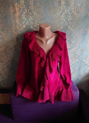 Красивый кардиган стриженый велюр цвет рубин кофта накидка р.44/46/487 фото