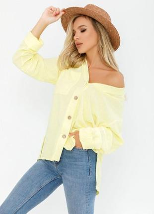 Желтая фактурная рубашка с карманом