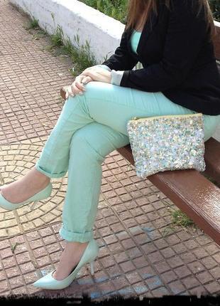 🎁1+1=3 стильные женские мятные брюки штаны чинос хлопок zara, размер 46 - 48