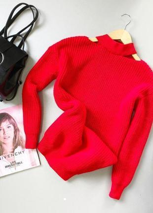 Красный оверсайз свитер с чокером george