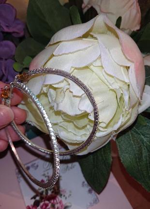 Серьги кольца конго камни дорожка сережки