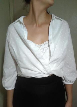 Блузка блуза рубашка оверсайз прямая свободная белая хлопок воздушная прозрачная