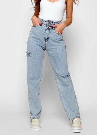 Модные джинсы релаксы высокая посадка