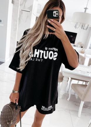 Черный качественный костюм (футболка и шорты)