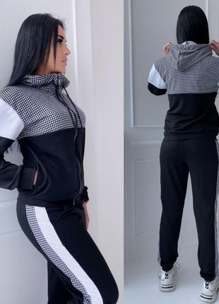Женский спортивный костюм кофта на змейке штаны с лампасами3 фото