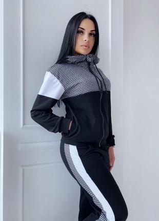 Женский спортивный костюм кофта на змейке штаны с лампасами7 фото