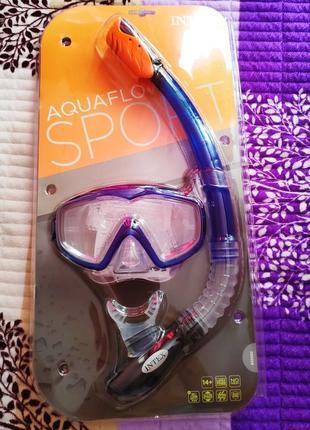 Набор для плаванья intex 55962 комплект маска трубка очки 14+ для плавания летний