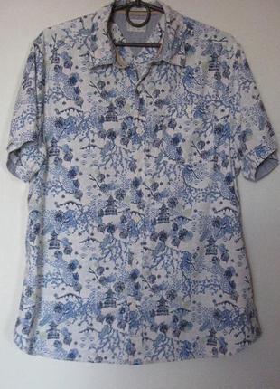 Шведка рубашка летняя хб в синий узор