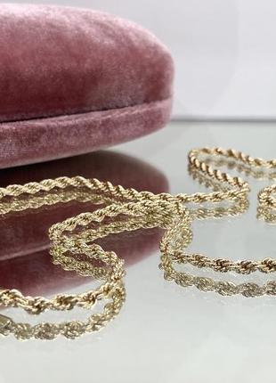 Цепочка для очков перекрут плетение жгут золотистая на силиконовых петлях