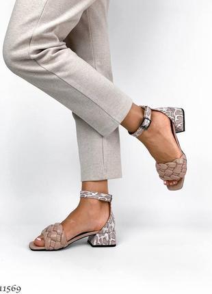 Босоножки платёжные, босоножки на квадратном каблуке, кожаные босоножки