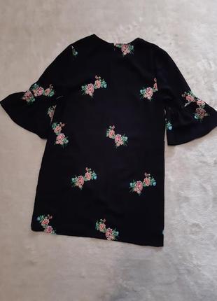 Распродажа!платье сукня с вышивкой рукав 3/4 с воланом р 10-12 new look