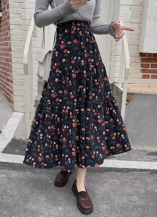 Шикарная юбка в мелкий цветочный принт