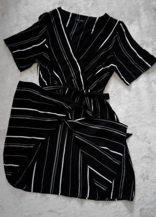 Распродажа!лёгкое платье в полоску с запахом короткий рукав р 10-12 new look4 фото