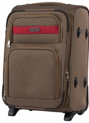 Чемодан дорожный (дорожная сумка) тканевый на 2 колёсах маленький 1605 s wings ( песочный / yellow )