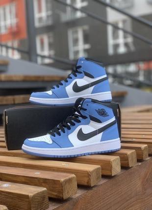 Кроссовки nike air jordan 1 retro high голубые с белым