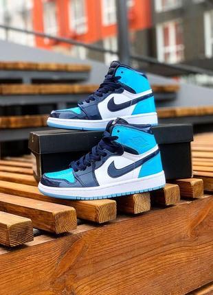 Шикарные женские кроссовки nike air jordan 1 retro high синий с голубым
