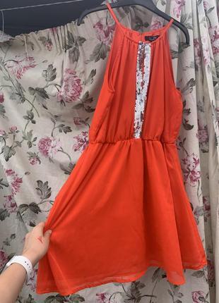 Оранжевое платье мини короткое платье сарафан