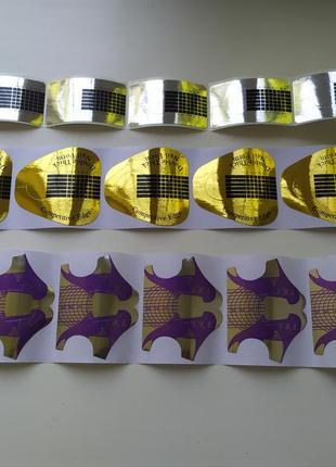 Формы для наращивания ногтей узкие широкие золотые серебро фиолетовые 100 шт
